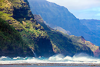 Angry sea on the Na Pali Coast in Hawaii on the island of Kauai. The rugged coastline of the Na Pali Coast is breathtaking.