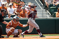 Texas A&M Aggies third baseman Blake Allemand #1 swings during the NCAA baseball game against the Texas Longhorns on April 28, 2012 at UFCU Disch-Falk Field in Austin, Texas. The Aggies beat the Longhorns 12-4. (Andrew Woolley / Four Seam Images).
