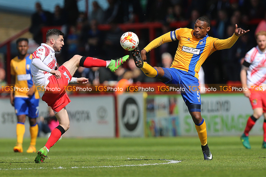 Tom Pett of Stevenage and Krystian Pearce of Mansfield Town during Stevenage vs Mansfield Town, Sky Bet EFL League 2 Football at the Lamex Stadium on 22nd April 2017