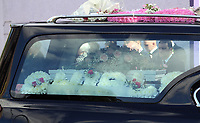COPY BY TOM BEDFORD<br /> Pictured: The funeral cortege leaves after the service, the Jerusalem Baptist Chapel in Merthyr Tydfil, Wales, UK. Friday 18 August 2017<br /> Re: The funeral of a toddler who died after a parked Range Rover's brakes failed and it hit a garden wall which fell on top of her will be held today at Jerusalem Baptist Chapel in Merthyr Tydfil.<br /> One year old Pearl Melody Black and her eight-month-old brother were taken to hospital after the incident in south Wales.<br /> Pearl's family, father Paul who is The Voice contestant and mum Gemma have said she was &quot;as bright as the stars&quot;.