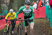 Picture by Allan McKenzie/SWpix.com - 10/12/17 - Cycling - HSBC UK National Cyclo-Cross Championships - Round 5, Peel Park - Bradford, England - Oliver Stockwell on his way victory in the U16 boys race.