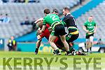 Daniel Griffin Glenbeigh Glencar in action against Mark McAleer Rock Saint Patricks in the Junior Football All Ireland Final in Croke Park on Sunday.