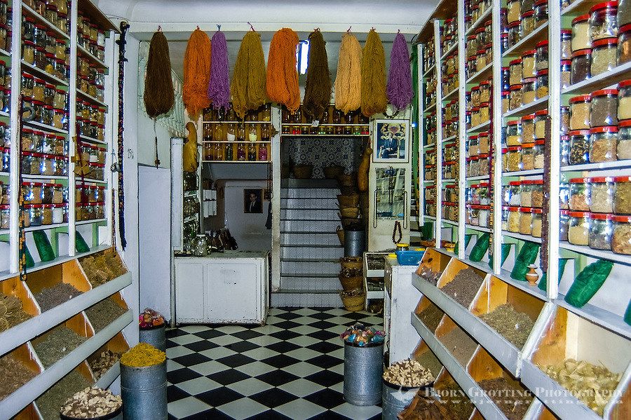 Morocco, Marrakesh. Spices and medicine store in the medina.