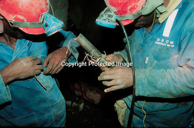 IDMININ14081.Industry Mining. Diamond workers underground; Wesselton Mine owned by De Beers; 1996. .©Per-Anders Pettersson/iAfrika Photos