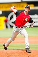 Kannapolis Intimidators relief pitcher Steven Upchurch #25 in action against the Greensboro Grasshoppers at NewBridge Bank Park on May 16, 2012 in Greensboro, North Carolina.  The Grasshoppers defeated the Intimidators 10-8 in 11 innings.  (Brian Westerholt/Four Seam Images)