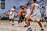16 March 2019: UMBC Retriever Guard Jose Placer, a Freshman from Orlando, FL, pushes forward in the first half against the University of Vermont Catamounts, in the America East Championship Game at Patrick Gymnasium in Burlington, Vermont. The Catamounts defeated the Retrievers 66-49 to take the AE Championship for the 2018/2019 NCAA Men's Basketball season. Mandatory Credit: Ed Wolfstein Photo *** RAW (NEF) Image File Available ***