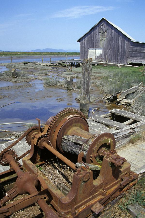 Machinery and old barn, Padilla Bay National Estuarine Reserve, Bay View, Washington