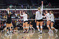 STANFORD, CA - November 15, 2017: Jenna Gray,Kathryn Plummer, Meghan McClure, Morgan Hentz, Audriana Fitzmorris, Merete Lutz at Maples Pavilion. The Stanford Cardinal defeated USC 3-0 to claim the Pac-12 conference title.