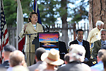 U.S. Sen. Dianne Feinstein, D-Calif., speaks at the 18th annual Lake Tahoe Summit at the Valhalla Estate in South Lake Tahoe, Ca., on Tuesday, Aug. 19, 2014. Gov. Brian Sandoval and Rep. Tom McClintock, R-Calif., at right, were among the many officials at the event which attracts scientists and educational and environmental agencies from California and Nevada, helps focus on environmental issues key to the preservation of the Lake Tahoe basin. (Las Vegas Review-Journal/Cathleen Allison)