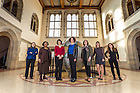February 27, 2017; International Women's Day group photo in Hurley Hall. (Photo by Barbara Johnston/University of Notre Dame)