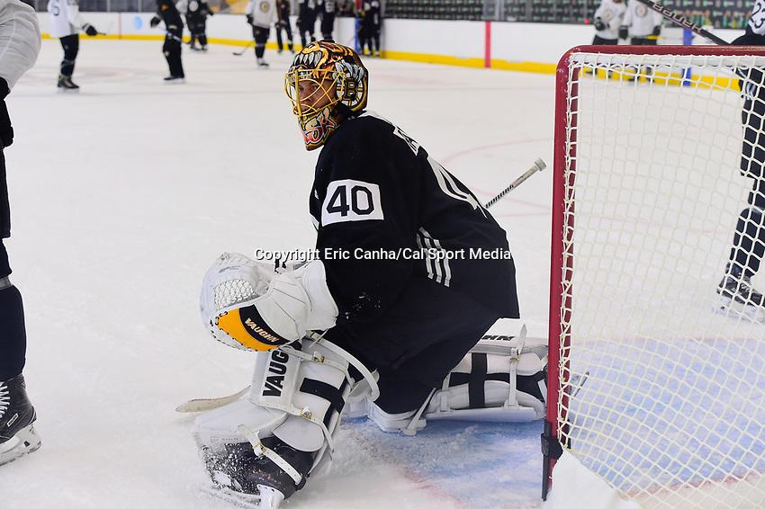 September 15, 2017: Boston Bruins goalie Tuukka Rask (40) watches the puck during the Boston Bruins training camp held at Warrior Ice Arena in Brighton, Massachusetts. Eric Canha/CSM