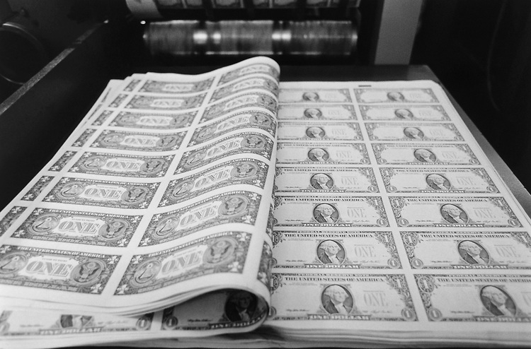 Sheets of $1.00 bills, Bureau of Engraving and Printing, in September 1994. (Photo by Maureen Keating/CQ Roll Call via Getty Images)