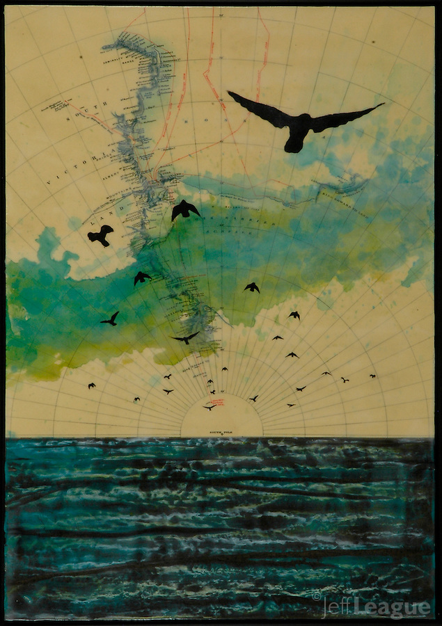 Mixed media encaustic photo transfer by Jeff League.