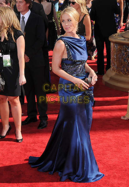 CHRISTINA APPLEGATE.Arrivals at the 61st Primetime Emmy Awards held at Te Nokia Theater in Los Angeles, California, USA..September 20st, 2009     .emmys full length blue silk satin sleeveless dress lace black waistband .CAP/DVS.©Debbie VanStory/Capital Pictures.