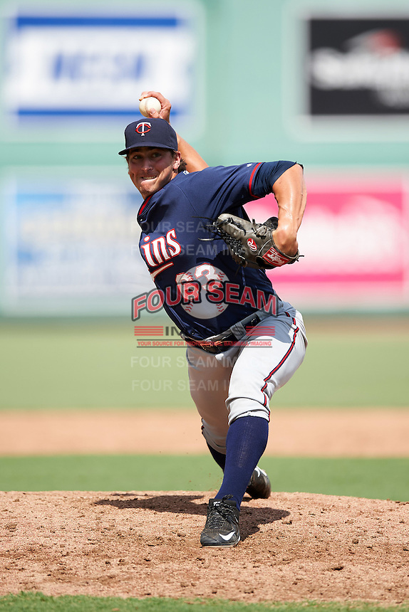 Minnesota Twins pitcher Tom Hackimer (63) during an Instructional League game against the Boston Red Sox on September 23, 2016 at JetBlue Park at Fenway South in Fort Myers, Florida.  (Mike Janes/Four Seam Images)