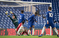 Marc Guehi of Chelsea U18 scores a goal 2 1 during the FA Youth Cup FINAL 1st leg match between Chelsea U18 and Arsenal U18 at Stamford Bridge, London, England on 27 April 2018. Photo by Andy Rowland.