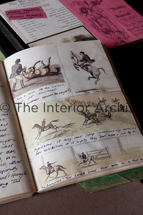 Lively illustrations and humorous verse in a hunting journal from the 1930s and 1940s that belonged to Golly Drew, Lord Rathdonell's aunt