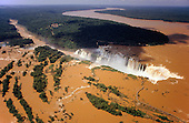 Iguassu, Brazil. Aerial view of the Iguassu falls in full flood.