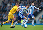 GLASGOW, SCOTLAND - JANUARY 28:  Ayr's Jamie McKernon and Killie's Dean Shiels during the Scottish Communities Cup Semi Final match between Ayr United and Kilmarnock at Hampden Park on January 28, 2012 in Glasgow, United Kingdom. (Photo by Rob Casey/Getty Images).
