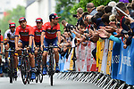 Vincenzo Nibali (ITA) and Bahrain-Merida at the Team Presentations for the 105th Tour de France 2018 held on Napoleon Square in La Roche-sur-Yon, France. 5th July 2018. <br /> Picture: ASO/Alex Broadway | Cyclefile<br /> All photos usage must carry mandatory copyright credit (&copy; Cyclefile | ASO/Alex Broadway)