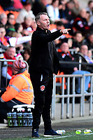 Fleetwood Town manager John Sheridan gestures<br /> <br /> Photographer Richard Martin-Roberts/CameraSport<br /> <br /> The EFL Sky Bet League One - Blackpool v Fleetwood Town - Saturday 14th April 2018 - Bloomfield Road - Blackpool<br /> <br /> World Copyright &not;&copy; 2018 CameraSport. All rights reserved. 43 Linden Ave. Countesthorpe. Leicester. England. LE8 5PG - Tel: +44 (0) 116 277 4147 - admin@camerasport.com - www.camerasport.com