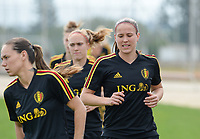 20180304 - LARNACA , CYPRUS :  Belgian Lenie Onzia (r) pictured during a Matchday -1 training from The Belgian Red Flames prior to their game against Austria , on Sunday 4 March 2018 at the Alpha Sports Grounds in Larnaca , Cyprus . This will be the third game in group B for Belgium during the Cyprus Womens Cup , a prestigious women soccer tournament as a preparation on the World Cup 2019 qualification duels. PHOTO SPORTPIX.BE | DAVID CATRY