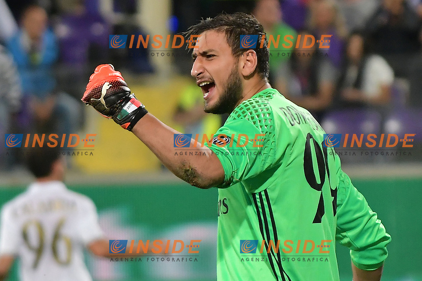 Gianluigi Donnarumma Esultanza rigore. Gianluig Donnarumma celebrates after saving a penalty kick <br /> Firenze 25-09-2016  Stadio Artemio Franchi <br /> Campionato Serie A Fiorentina - Milan <br /> Foto Andrea Staccioli / Insidefoto