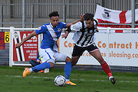 Conor Townsend of Grimsby Town is challenged by Wes Atkinson of Eastleigh during the Vanarama National League match between Eastleigh and Grimsby Town at The Silverlake Stadium, Eastleigh, Hampshire on Nov 21, 2015. (Photo: Paul Paxford/PRiME)