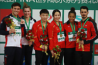 Beijing, CHINA-10th March 2018: Chinese divers Wang Han and Li Zheng win the gold medal of mixed 3m synchronized springboard at FINA Diving World Series in Beijing, March 10th, 2018. (EDITORIAL USE ONLY. CHINA OUT)