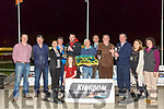 Sellout Magic winner of the John & Mary Killeacle Dowling Memorial Final at the Kingdom Greyhound Stadium on Friday. Pictured Kieran Casey, Liam Dowling, Nicholas Dowling, Angela Dowling, Peter Connolly, Owner, Dan O'Connor, Declan Dowling, Giles Connolly, Pat Dowling,  Miriam Dowling, Jane Dowling and Sophie Dowling