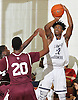 Aidan Igiehon #22 of Lawrence Woodmere Academy shoots a jumper during a varsity boys basketball game against Berkeley Carroll (Brooklyn) at Lawrence Woodmere Academy on Friday, Dec. 9, 2016. LWA won 92-39.