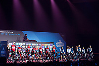 Both the Men's & Women's Team Trek Segafredo are presented to the crowd simultaneously at the pre-race team presentation in the legendary Kuipke <br /> <br /> <br /> 74th Omloop Het Nieuwsblad 2019 (BEL)<br /> Gent – Ninove: 200km<br /> ©kramon