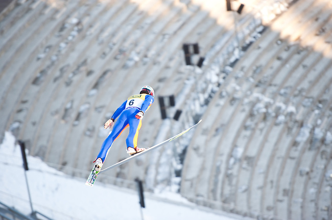 HOLMENKOLLEN, OSLO, NORWAY - March 14: Andrzej Gasienica of Poland (POL) during the official training for the FIS Nordic Combined World Cup from the large hill HS 134 Holmenkollbakken on March 14, 2013 in Oslo, Norway. (Photo by Dirk Markgraf).