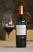 Bottle and glass of Saurus Patagonia Select Pinot Noir Bodega Familia Schroeder Winery, also called Saurus, Neuquen, Patagonia, Argentina, South America