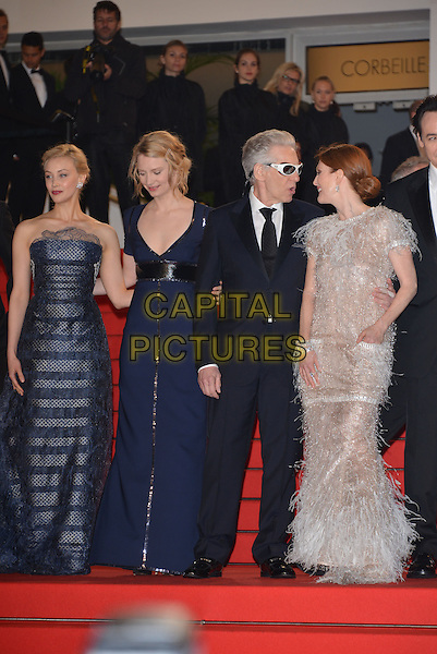 CANNES, FRANCE - MAY 19: (L-R) Sarah Gadon, Mia Wasikowska, David Cronenberg and Julianne Moore attend the'Maps To The Stars' premiere during the 67th Annual Cannes Film Festival on May 19, 2014 in Cannes, France.<br /> CAP/PL<br /> &copy;Phil Loftus/Capital Pictures