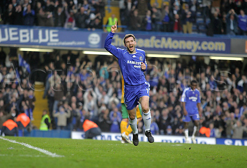 17 February 2007: Chelsea striker Andriy Shevchenko celebrates his late goal during the FA Cup 5th Round game between Chelsea and Norwich City, played at Stamford Bridge. Chelsea won the match 4-0. Photo: Actionplus....070217 football soccer player joy celebration