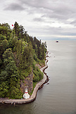 CANADA, Vancouver, British Columbia, view from the Lions Gate Bridge of walkers and runners on the path at Stanley Park, Prospect Point