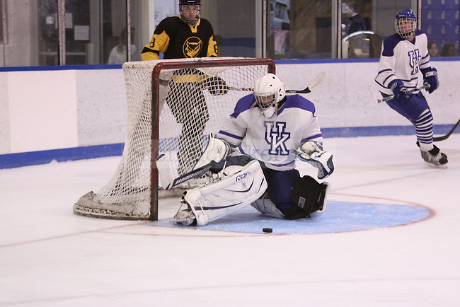 Goalie Derek Steinbrecher makes the save in the game against Kennesaw State at Lexington Ice Center on Friday, Oct. 30, 2009. Steinbrecher only allowed two goals for the victory. Photo by Scott Hannigan | Staff