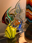 These glass angelfish were gallery purchases that reflect the various colors throughout the living room. At Home with Sheridan and Rikki Glen in their Tanglewood subdivision home in Caseyville, IL on Wednesday January 16, 2019. <br /> Photo by Tim Vizer