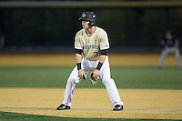 Ben Breazeale (39) of the Wake Forest Demon Deacons takes his lead off of first base against the Davidson Wildcats at David F. Couch Ballpark on February 28, 2017 in Winston-Salem, North Carolina.  The Demon Deacons defeated the Wildcats 13-5.  (Brian Westerholt/Four Seam Images)