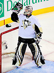 6 February 2010: Pittsburgh Penguins' goaltender Brent Johnson hydrates prior to facing the Montreal Canadiens at the Bell Centre in Montreal, Quebec, Canada. The Canadiens defeated the Penguins 5-3. Mandatory Credit: Ed Wolfstein Photo