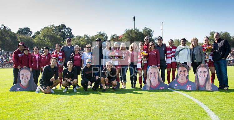 STANFORD, CA - October 21, 2018: Averie Collins, Alana Cook, Tegan McGrady, Michelle Xiao, Jordan DiBiasi at Laird Q. Cagan Stadium. No. 1 Stanford Cardinal defeated No. 15 Colorado Buffaloes 7-0 on Senior Day.