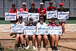 HOUSTON, TX - MAY 12: The top ten finishers pose with their awards during Division III Women's Golf Championship held at Bay Oaks Country Club on May 12, 2017 in Houston, Texas. (Photo by Rudy Gonzalez/NCAA Photos/NCAA Photos via Getty Images)