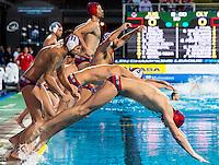 JUG Team<br /> Jug Dubrovnik (white cap) vs Olympiacos (blue cap)<br /> Budapest, Alfred Hajos National Swimming Complex<br /> LEN 2016 Water Polo Champions League Final Six<br /> Budapest HUN June 2 - 5, 2016<br /> Day 03 June 4, 2016<br /> Photo Giorgio Scala/Deepbluemedia/Insidefoto