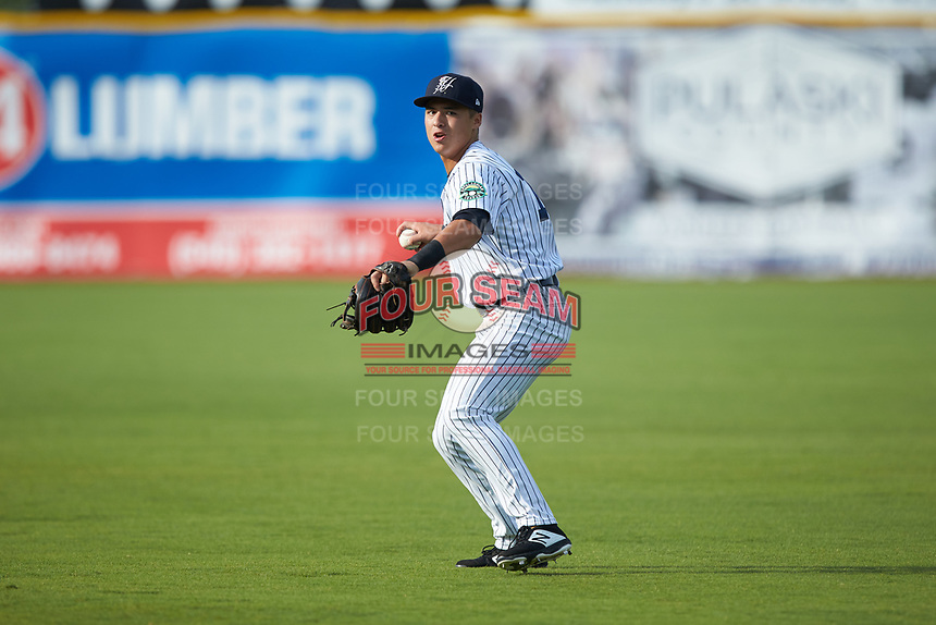 Pulaski Yankees shortstop Anthony Volpe (12) warms up in the outfield prior to the game against the Danville Braves at Calfee Park on June 30, 2019 in Pulaski, Virginia. The Braves defeated the Yankees 8-5 in 10 innings. (Brian Westerholt/Four Seam Images)