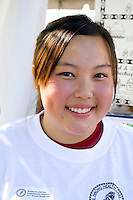Beautiful Hmong Health Care Professionals Coalition worker. Hmong Sports Festival McMurray Field St Paul Minnesota USA