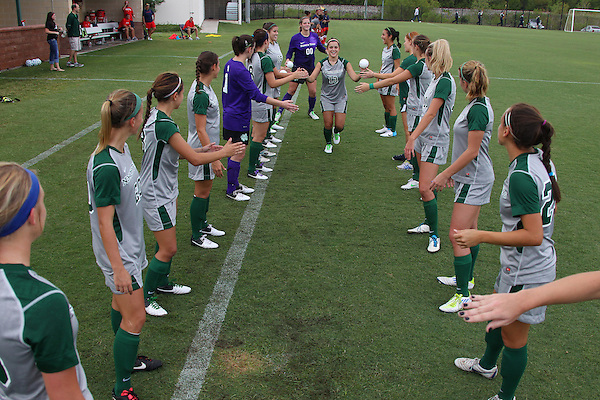 Denton, TX - AUGUST 31: Allison Guderian #13 of the North Texas Mean Green soccer team introduction against University of Houston Cougars at the Mean Green Village Soccer Field on August 31, 2012 in Denton, Texas. NT won 2-1.(Photo by Rick Yeatts)