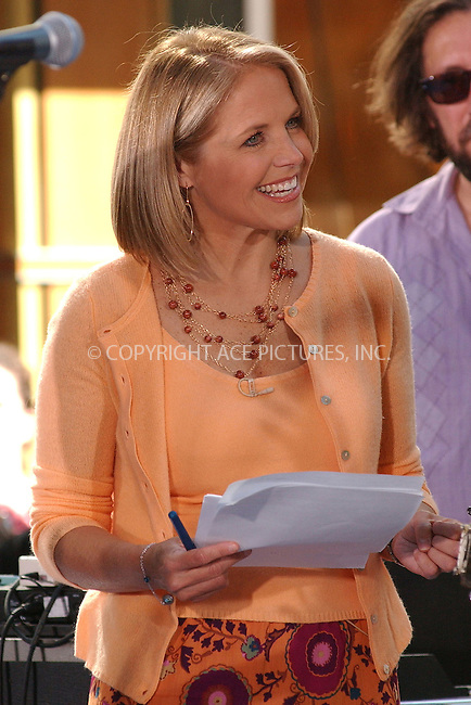 WWW.ACEPIXS.COM . . . . . ....NEW YORK, JULY 22,  2005 ....Katie Couric on the NBC Today Show at Rockefeller Center.....Please byline: KRISTIN CALLAHAN - ACE PICTURES.. . . . . . ..Ace Pictures, Inc:  ..Craig Ashby (212) 243-8787..e-mail: picturedesk@acepixs.com..web: http://www.acepixs.com