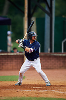 Elizabethton Twins first baseman Chris Williams (40) at bat during a game against the Bristol Pirates on July 29, 2018 at Joe O'Brien Field in Elizabethton, Tennessee.  Bristol defeated Elizabethton 7-4.  (Mike Janes/Four Seam Images)