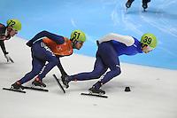 SHORTTRACK: DORDRECHT: Sportboulevard Dordrecht, 24-01-2015, ISU EK Shorttrack, Sjinkie KNEGT (NED | #51), Vladislav BYKANOV (ISR | #39), SjinNEGT (NED | #51), ©foto Martin de Jong